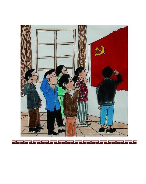 """""""我志愿加入中国共产党,拥护党的纲领,遵守党的章程,履行党员义务,执行党的决定,严守党的纪律,保守党的秘密,对党忠诚,积极工作,为共产主义奋斗终身,随时准备为党和人民牺牲一切,永不叛党。"""""""